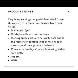 Madewell Jewelry - Madewell blue tassel earrings